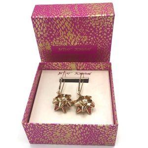 Betsey Johnson Gold Bow Earrings Rhinestones NWT